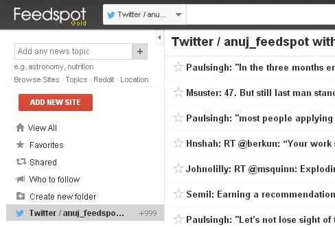 Twitter timeline on your Feedspot